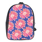 Pink Daisy Pattern School Bags (XL)  Front