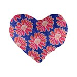 Pink Daisy Pattern Standard 16  Premium Heart Shape Cushions Front