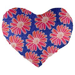 Pink Daisy Pattern Large 19  Premium Heart Shape Cushions