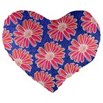 Pink Daisy Pattern Large 19  Premium Heart Shape Cushions Front