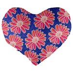 Pink Daisy Pattern Large 19  Premium Heart Shape Cushions Back