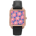Pink Daisy Pattern Rose Gold Leather Watch  Front
