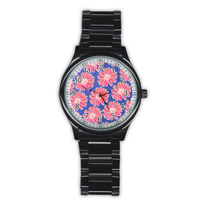 Pink Daisy Pattern Stainless Steel Round Watch