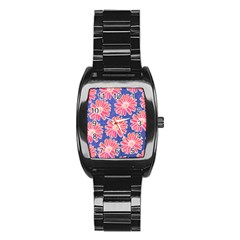 Pink Daisy Pattern Stainless Steel Barrel Watch