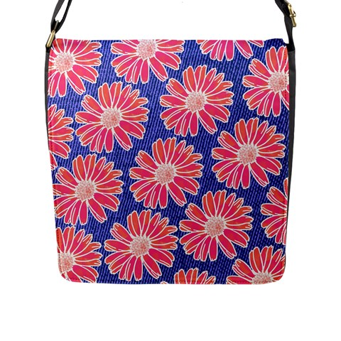 Pink Daisy Pattern Flap Messenger Bag (L)
