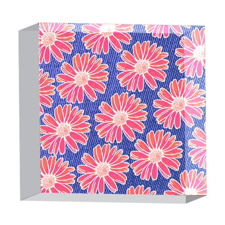 Pink Daisy Pattern 5  x 5  Acrylic Photo Blocks