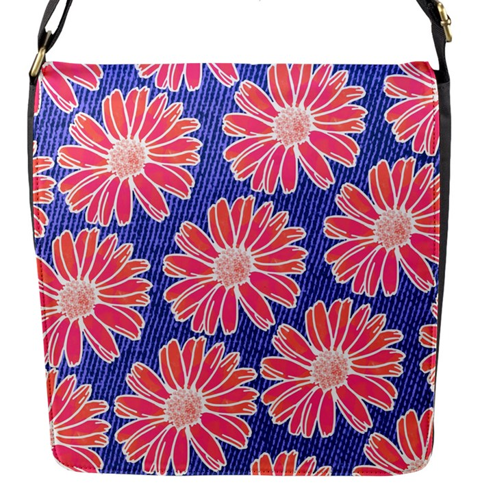 Pink Daisy Pattern Flap Messenger Bag (S)