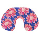 Pink Daisy Pattern Travel Neck Pillows Back