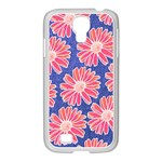 Pink Daisy Pattern Samsung GALAXY S4 I9500/ I9505 Case (White) Front