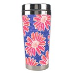Pink Daisy Pattern Stainless Steel Travel Tumblers Center