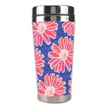 Pink Daisy Pattern Stainless Steel Travel Tumblers Right