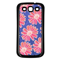 Pink Daisy Pattern Samsung Galaxy S3 Back Case (Black)