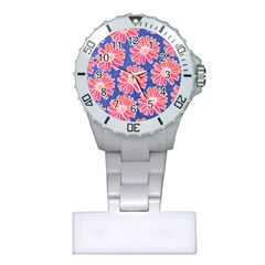 Pink Daisy Pattern Plastic Nurses Watch