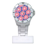 Pink Daisy Pattern Plastic Nurses Watch Front