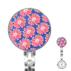 Pink Daisy Pattern Stainless Steel Nurses Watch