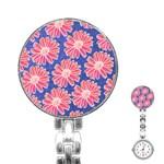 Pink Daisy Pattern Stainless Steel Nurses Watch Front
