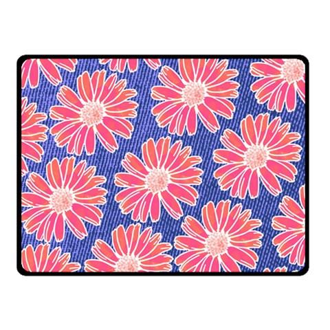 Pink Daisy Pattern Double Sided Fleece Blanket (Small)