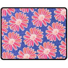 Pink Daisy Pattern Double Sided Fleece Blanket (Medium)