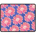 Pink Daisy Pattern Double Sided Fleece Blanket (Medium)  60 x50 Blanket Front