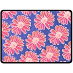Pink Daisy Pattern Double Sided Fleece Blanket (Large)  80 x60 Blanket Front