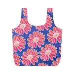 Pink Daisy Pattern Full Print Recycle Bags (M)  Back