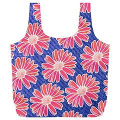 Pink Daisy Pattern Full Print Recycle Bags (L)