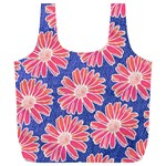 Pink Daisy Pattern Full Print Recycle Bags (L)  Back