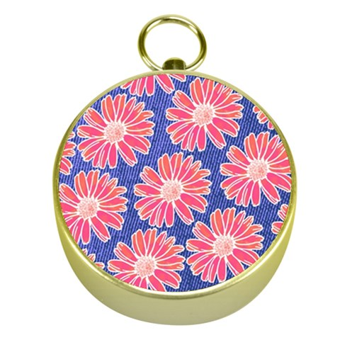 Pink Daisy Pattern Gold Compasses
