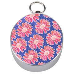 Pink Daisy Pattern Silver Compasses