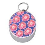 Pink Daisy Pattern Mini Silver Compasses Front