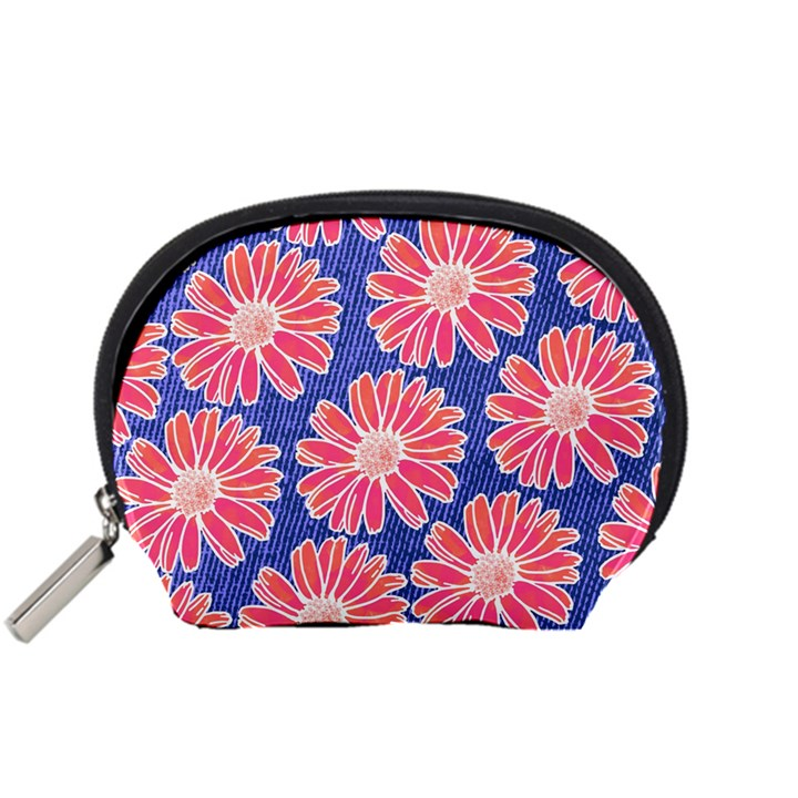 Pink Daisy Pattern Accessory Pouches (Small)