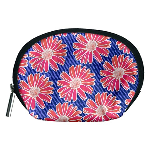 Pink Daisy Pattern Accessory Pouches (Medium)