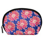 Pink Daisy Pattern Accessory Pouches (Large)  Front