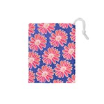 Pink Daisy Pattern Drawstring Pouches (Small)  Front