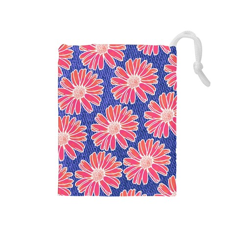 Pink Daisy Pattern Drawstring Pouches (Medium)