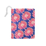 Pink Daisy Pattern Drawstring Pouches (Medium)  Back