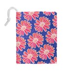 Pink Daisy Pattern Drawstring Pouches (Large)  Back