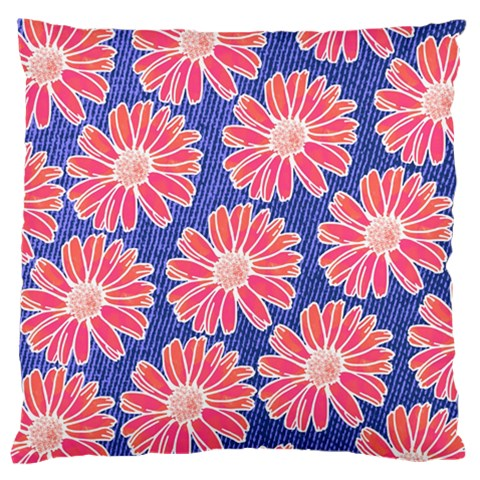 Pink Daisy Pattern Large Flano Cushion Case (Two Sides)