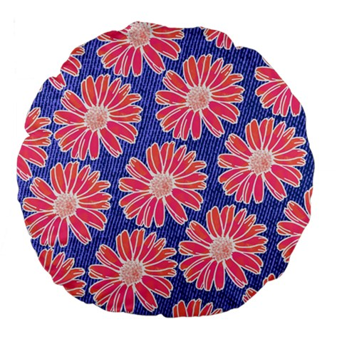 Pink Daisy Pattern Large 18  Premium Flano Round Cushions