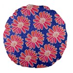 Pink Daisy Pattern Large 18  Premium Flano Round Cushions Back