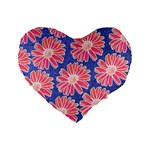 Pink Daisy Pattern Standard 16  Premium Flano Heart Shape Cushions Front