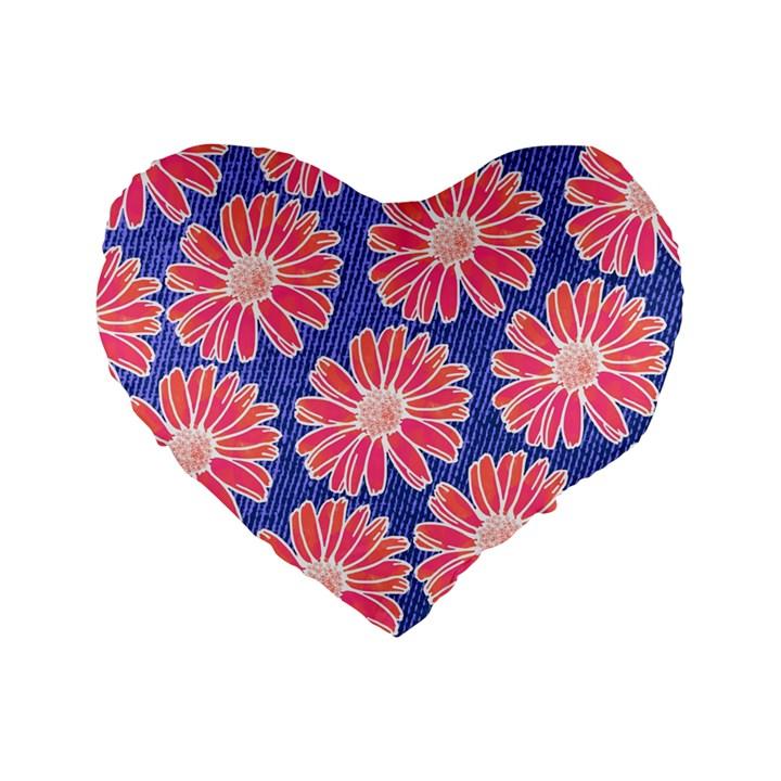Pink Daisy Pattern Standard 16  Premium Flano Heart Shape Cushions