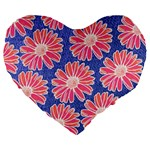 Pink Daisy Pattern Large 19  Premium Flano Heart Shape Cushions Front