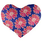 Pink Daisy Pattern Large 19  Premium Flano Heart Shape Cushions Back