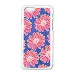 Pink Daisy Pattern Apple iPhone 6/6S White Enamel Case Front