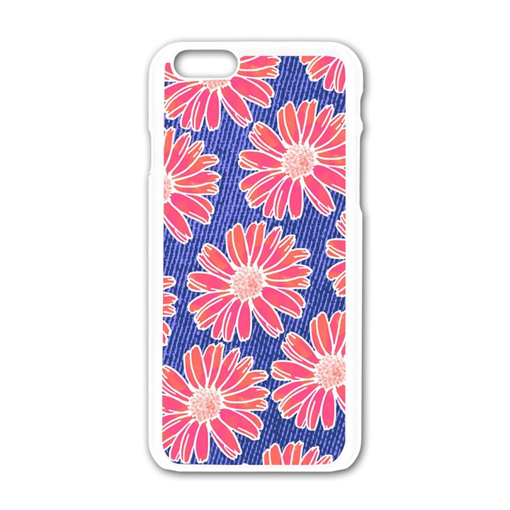 Pink Daisy Pattern Apple iPhone 6/6S White Enamel Case