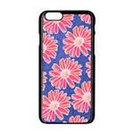 Pink Daisy Pattern Apple iPhone 6/6S Black Enamel Case Front
