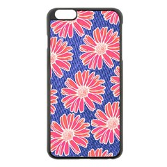 Pink Daisy Pattern Apple iPhone 6 Plus/6S Plus Black Enamel Case
