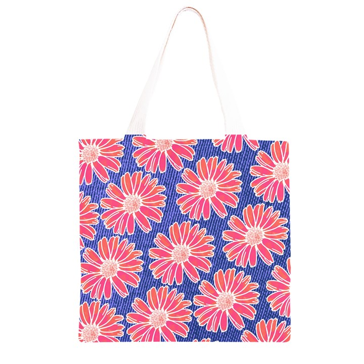 Pink Daisy Pattern Grocery Light Tote Bag