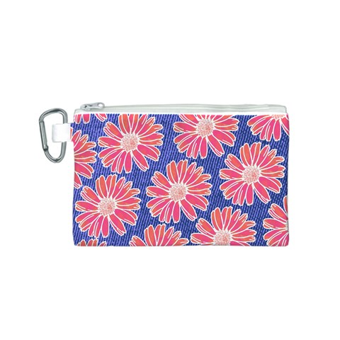 Pink Daisy Pattern Canvas Cosmetic Bag (S)